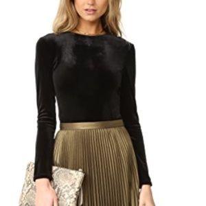 EUC MISA 'Eliza' Black Velvet Thong Bodysuit Sz XS